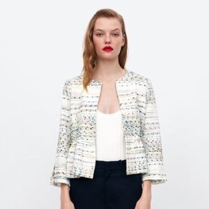Zara Metallic Blazer With Peplum NWT